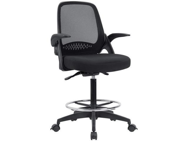 Devoko Drafting Chair With Flip Up Arms Tall Office Chair Executive  Computer Standing Desk Chair