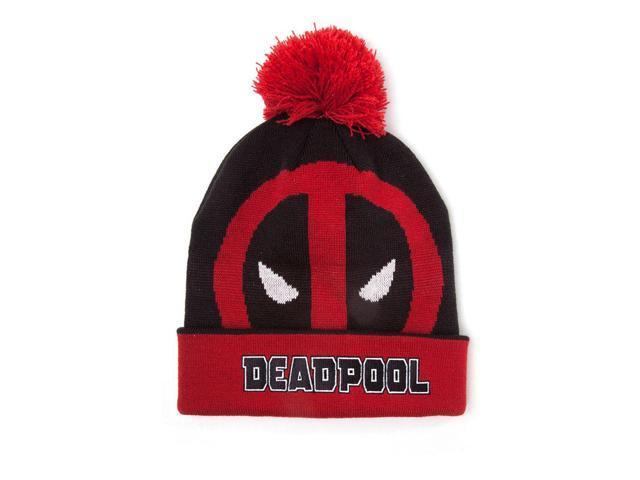 adac978c26b MARVEL COMICS Deadpool Face Roll-up Cuffed Beanie with Pompom
