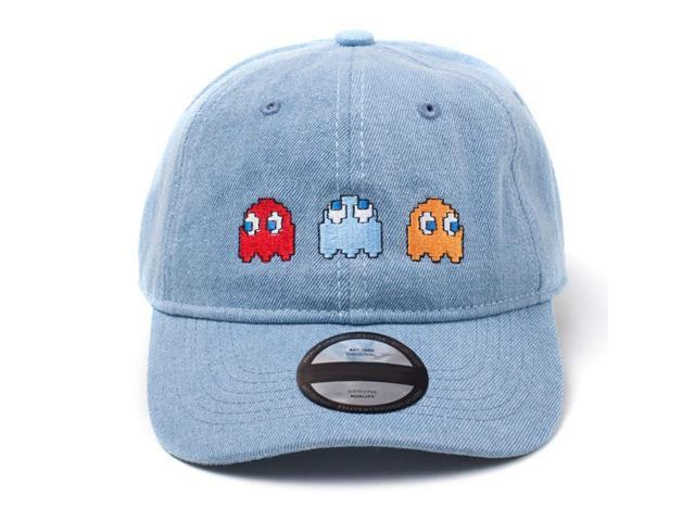 PAC-MAN Embroidered Ghosts Stone Washed Denim Dad Cap a04b8bcf9020