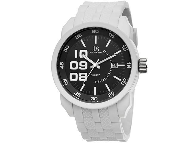 d40c2e813f New Men's Joshua & Sons JS63WT Quartz Date White Silicone Strap Pin Buckle  Watch - Newegg.com
