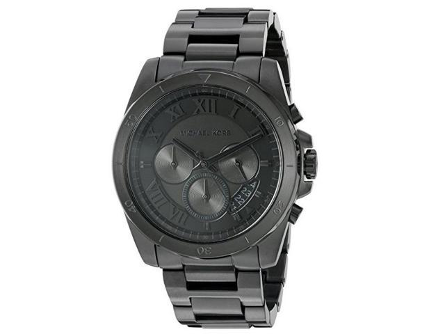 86979ea045e4 NEW Michael Kors Brecken Black Ion Plated IP MK8482 Chronograph Mens Watch