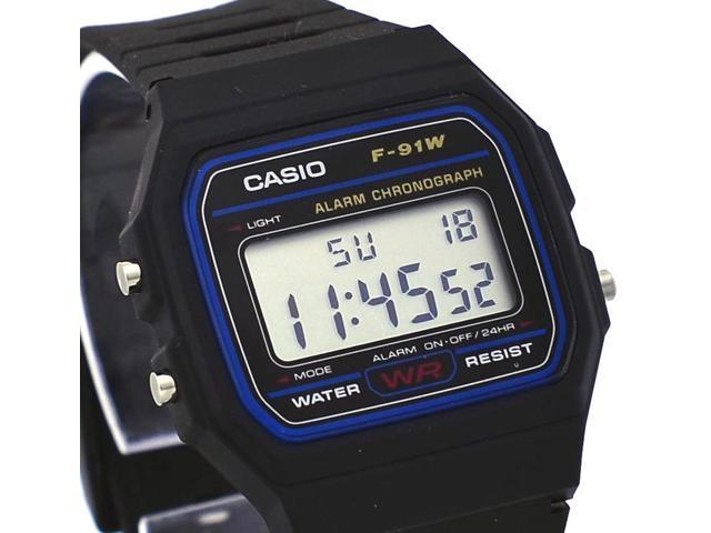 ff67c380b Casio F91W-1 Men's Classic Black Resin Band Alarm Chroograph LCD Digital  Watch