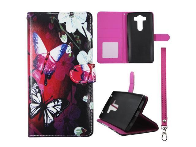 timeless design 9415f b11d0 For LG V10 Syentatic Leather Pink Butterfly White Flower Wallet Case Cover  sk34 - Newegg.com