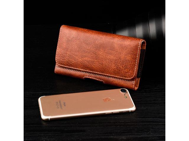 best service deb34 7f36d BROWN XL LEATHER BELT CLIP HOLSTER FOR iPHONE 6 6s PLUS 5.5