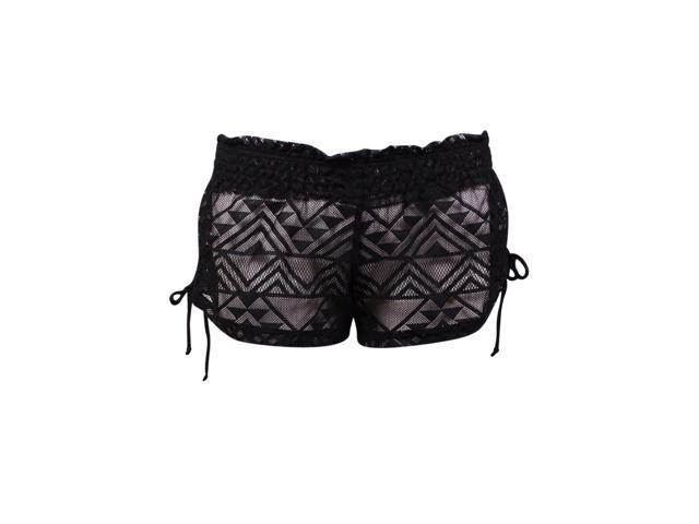 ebd868e44e Miken Women's Ruched-Tie Lace Swim Cover Shorts (S, Black ...
