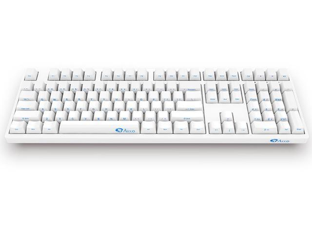 Akko 3108 Full Size Gaming Mechanical Keyboard Cherry MX Black Switch Double Shot Dye Sub PBT Keycaps NKRO Detachable USB Type-C Wired Side Printed/Carved Letter White