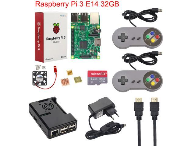 Raspberry Pi 3 Model B E14 version Game Starter Kit + 32G SD Card + Gamepad  + Case +Fan + Power +Heat Sink +HDMI Cable for RetroPie - Newegg com