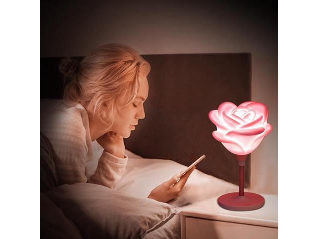 Pink Gift Mini Rose Lamp Led Bedroom Night Light Baby Usb Charging Romantic Atmosphere Energy Saving Desk Lamp White Rose Red Rose
