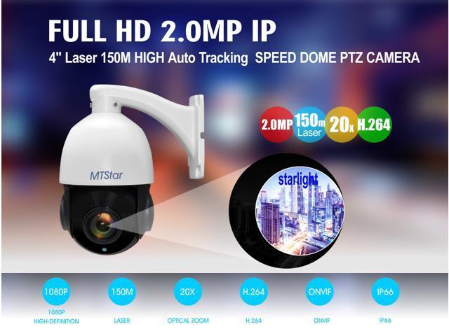 MTStar PTZ Camera Outdoor,Auto tracking Starlight HD IP PTZ Camera 2 0 MP  IR High Speed Dome Camera Night Vision 20x Zoom 4 7-94mm Lens 150M Laser
