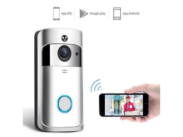 WIFI Video Doorbell, Wireless Smart Doorbell 720P HD Security Camera  Intercom Door Real-Time Two-Way Talk and Video, Night Vision, PIR Motion
