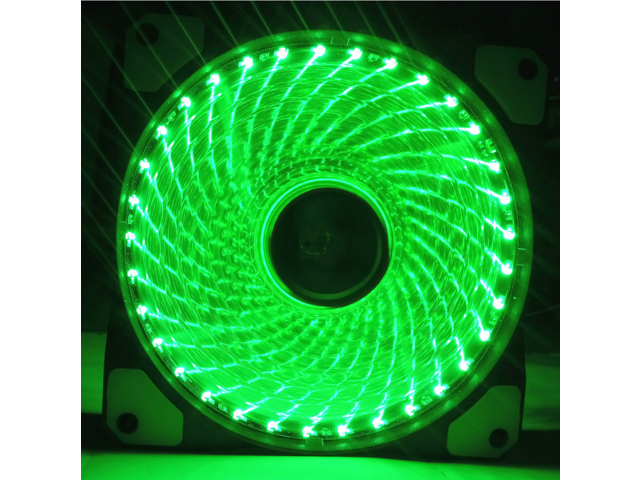 2 Pack 120mm Green LED PC Fan Cooling PC and Light Up Computer Case with Cool Look, Long Life Bearing with DC 15 LED Illuminating PC Case. Quiet Durable Fans Enhance Performance of Tower