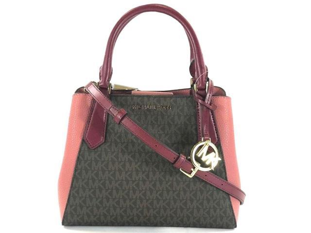 5cf74d68547a Michael Kors Kimberly Small Satchel Brown MK Signature Mulberry Pink