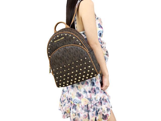 1e292fbc3192 Michael Kors Abbey Medium Backpack Brown MK Signature Stud School Bag
