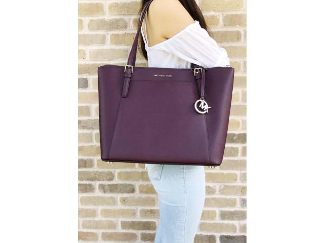 ebb78f0edfb4 Michael Kors Ciara Large East West Top Zip Tote Damson Purple Saffiano
