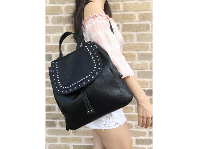 a27fad4325026a Michael Kors Riley Large Black Backpack Gold Studded Stone Drawstring Flap