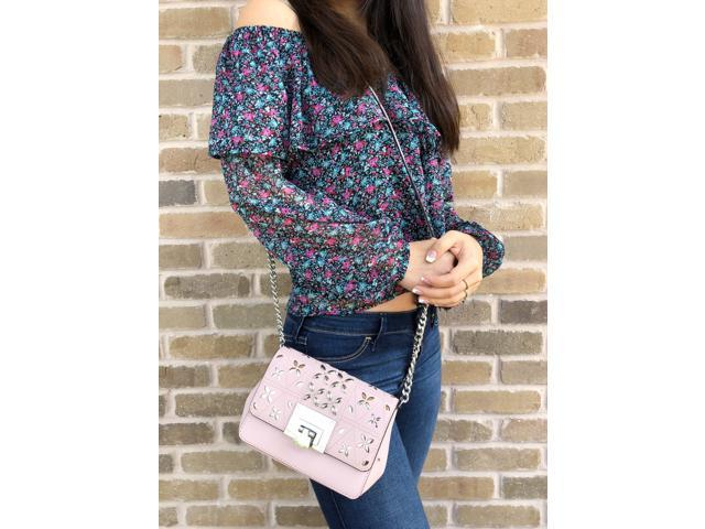 70ae7dcb54901e Michael Kors Tina Stud Small Flap Bag Crossbody Blossom Pink Floral  Perforated