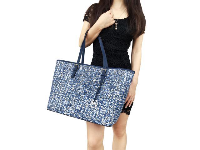 97c434a8d57f Michael Kors Jet Set Travel Carryall Large Tote Blue Floral Perforated ...
