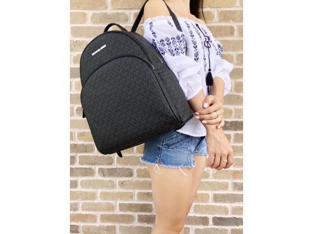 9a6741ab0b42 Michael Kors Abbey Large Backpack Black MK Signature PVC Leather 2018 Fall