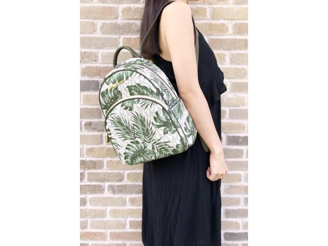 b5a88fec823b Michael Kors Abbey Medium Backpack Vanilla MK Olive Green Palm Leaves