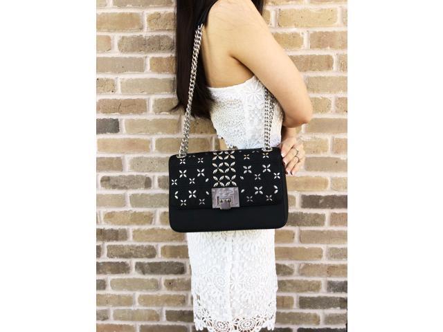 2648eea95fc268 NWT Michael Kors Tina Stud Medium Should Flap Bag Crossody Black