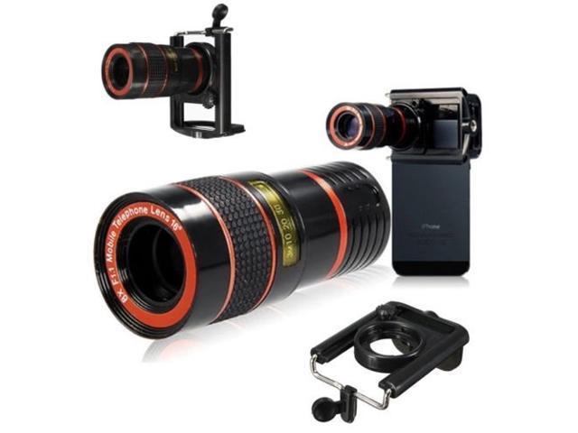 Universal 8x zoom optical camera telephoto telescope lens holder for