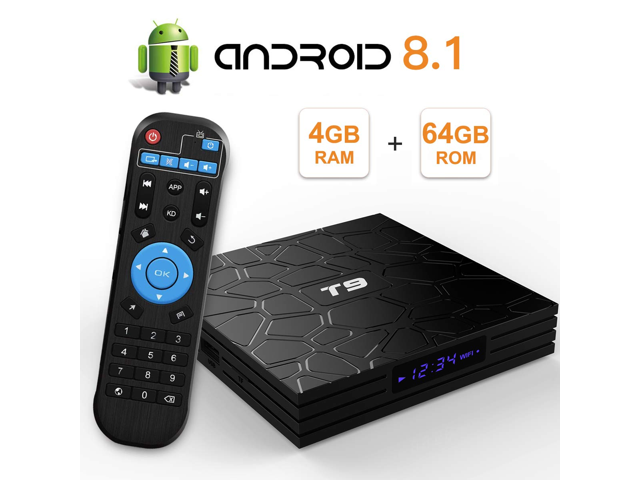 Android 8 1 VONTAR T9 TV BOX 4GB 64GB RK3328 Quad Core USB3 0 H 265 HEVC  1080p Wifi 5GHz BT4 0 Youtube Set Top Box media player - Newegg com