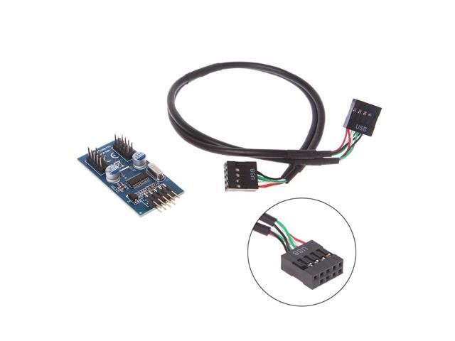 pc case internal 9 pin usb 2 0 to dual 9 pin pcb double chipset enhanced cable