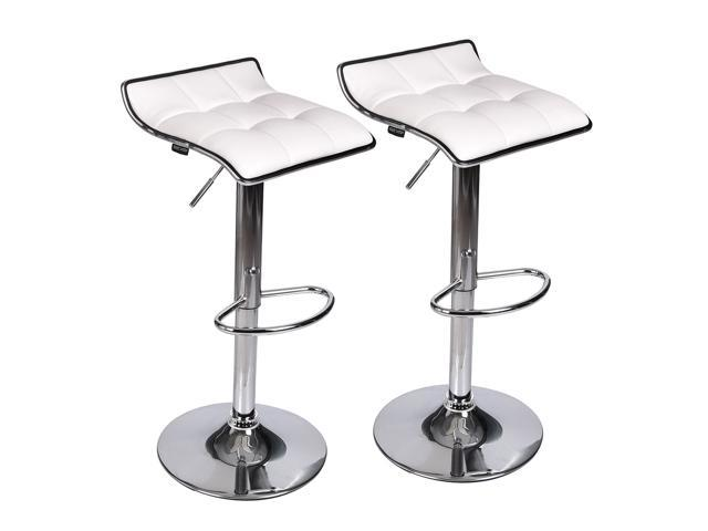 Set of 2 Adjustable Leather Bar Stool Counter Height Swivel Dining Chair  Bistro Kitchen