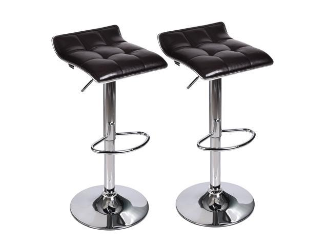 Set of 2 Adjustable Leather Bar Stool Counter Height Swivel Dining Chair  Bistro Kitchen Black