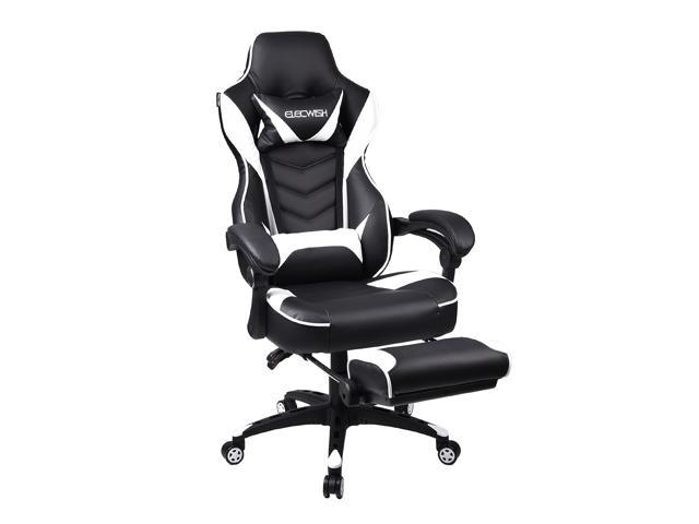 Groovy Elecwish Office Gaming Chair High Back Swivel Footrest Racing Style White Black Ncnpc Chair Design For Home Ncnpcorg
