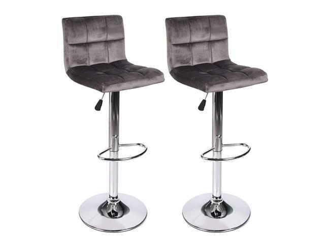 Groovy Elecwish Modern Adjustable Swivel Home Barstools Set Of 2 Kicthen Height Adjustable Hydraulic Velvet Flannel Fabric Counter Height Home Office Bar Theyellowbook Wood Chair Design Ideas Theyellowbookinfo