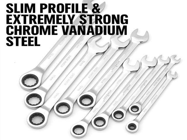 22pc Combination Ratcheting Wrench Set Metric Mm Standard Sae