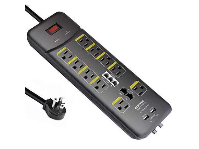 BESTTEN 10 Outlet All-In-One Surge Protector Power Strip with 2 USB  Charging Ports (3 1A Total) and Phone/Ethernet/Coaxial Protection, 9-Foot  Ultra
