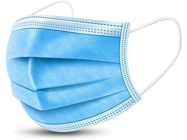 50 Pcs 3 Layer Disposable Face Masks Tie-on Earloop/Elastic Earloop, Random Shipping