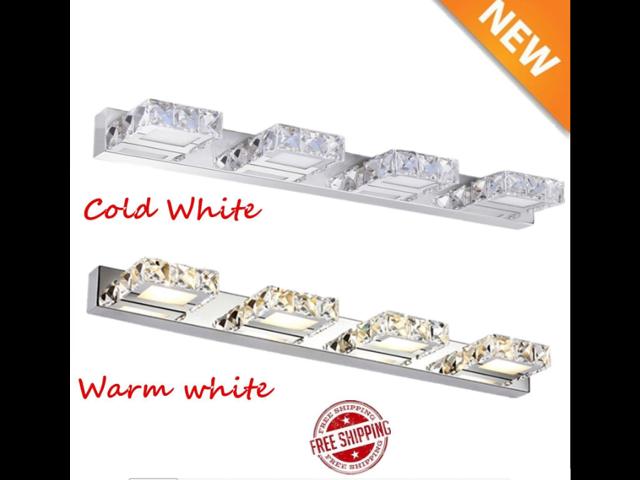 Modern K9 Crystal Led Bathroom Make Up Mirror Light Cool: 12W LED Crystal K9 Make-up Mirror Front 4 Heads Light