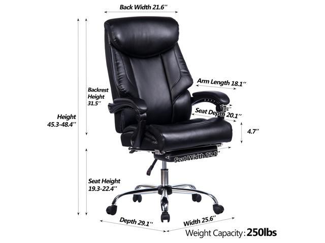 Awesome Vanbow Reclining Office Chair High Back Memory Foam Bonded Leather Executive Chair With Retractable Footrest Adjustable Angle Recline Lock System Dailytribune Chair Design For Home Dailytribuneorg