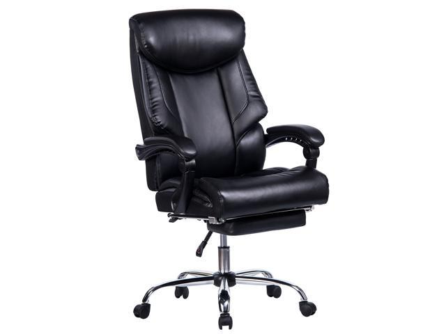 VANBOW Reclining Office Chair - High Back Memory Foam Bonded Leather  Executive Chair with Retractable Footrest, Adjustable Angle Recline Lock  System, ...