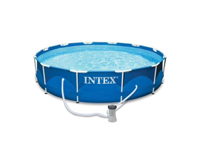 Intex 12ft x 30in Metal Frame Set Above Ground Swimming Pool with Filter -  Newegg.com