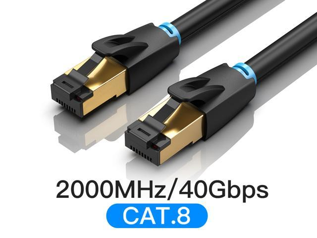 40Gbps 2000MHZ Industrial SFTP Shielded RJ45 LAN Patch Cord for POE Switch Gaming Router 10 Gigabit Cat8 Ethernet Cable 10ft