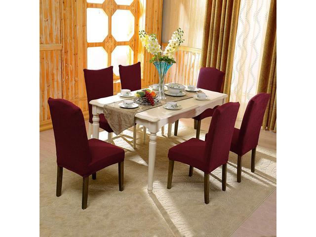 Subrtex Jacquard Dining Room Chair Slipcovers Sets Stretch Furniture  Protector Covers for Armchair Removable Washable Elastic Parsons Seat Case  for ...