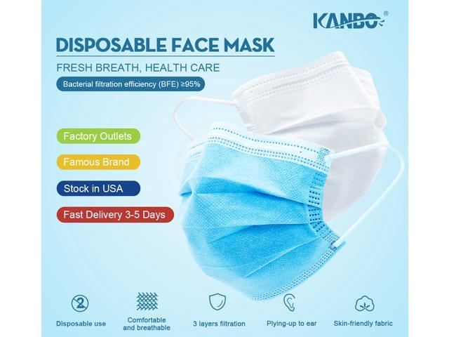[Limited time sale, Original price $169.99 ] 200pcs/4 Boxes KANBO Face Masks Reviews on YouTube, High quality, Elastic Ear-Loop Disposable Face Masks with 3-layer