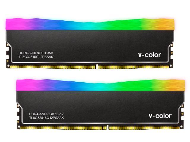 v-color PRISM Plus RGB 16GB(2x8GB) DDR4 3200MHz(PC4-25600) SK Hynix IC Desktop Memory Model TL8G32816C-I2PSKYBK
