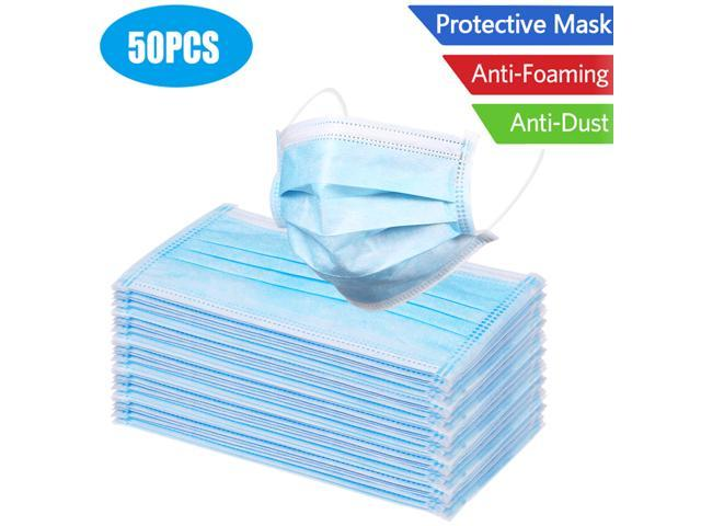 50 piece/box Disposable Face Mouth Masks 3-layer Non Woven Anti Spittle Breathable Earloops Masks color: blue/white random