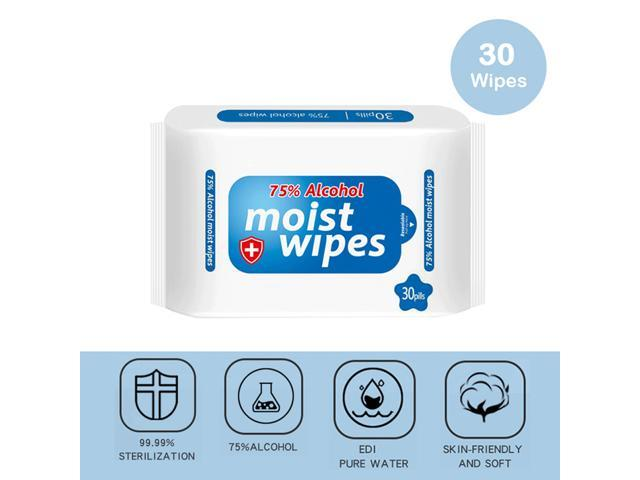 Alcohol Disinfecting Wipes (30PCS), Portable 75% Alcohol Detergent Soft Wet Wipes for Daily Protection Cleaning, Disinfectant Wet Paper Towel