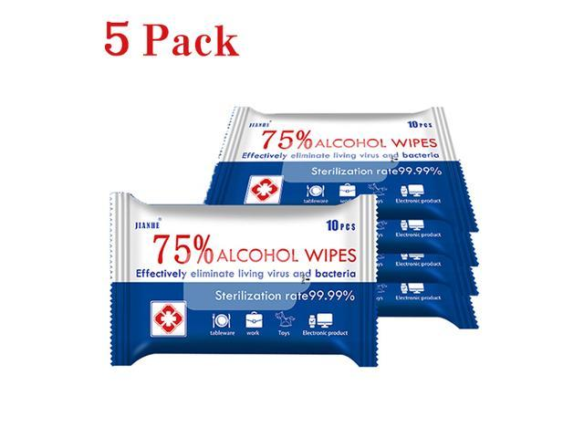 Medical Alcohol Disinfecting Wipes, 75% Alcohol for Cleaning Hands, Computer, Phones, Antiseptic Detergent Sterilization Sanitizing Wipes 5 Pcs/Pack 10 Packs