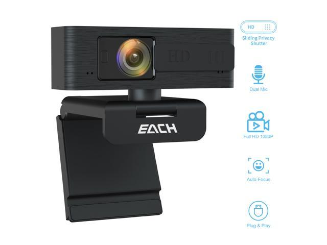 EACH Full HD Webcam 1080p Webcam Autofocus Camera HDR  USB Webcam with Privacy Cover Widescreen Video Calling and ...