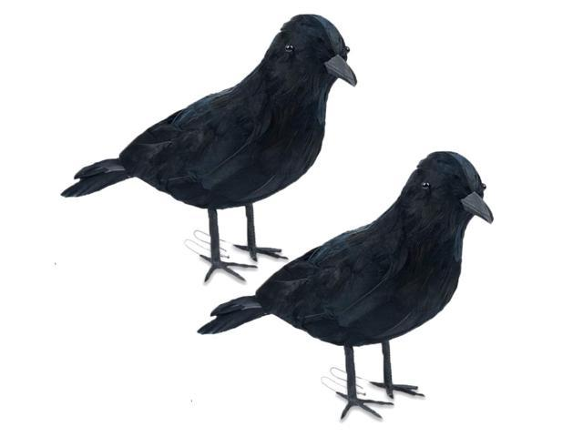 2PCS Halloween Artificial Crows Realistic Feathered Crows - Sale: $9.59 USD