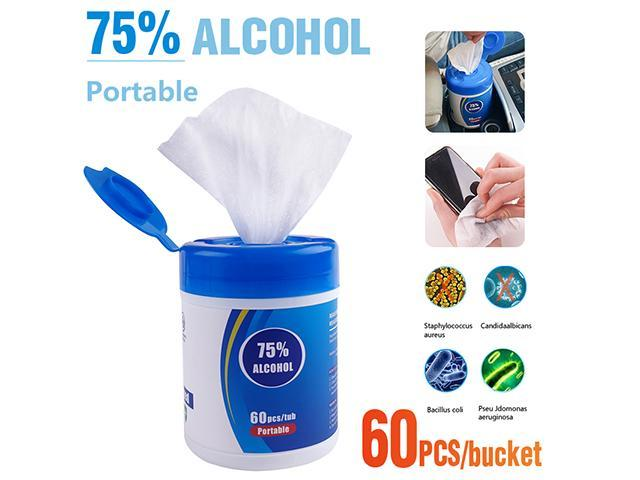 Disinfectant Wipes, 60 Ct Each, Portable Rubbing 75% Alcohol Wet Wipes Antiseptic Cleaning Sterilization Wipes Wet Wipes