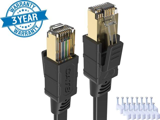 CAT 8 Ethernet Cable 25 Ft Black Flat 40Gbps High Speed Shielded - Sale: $25.99 USD