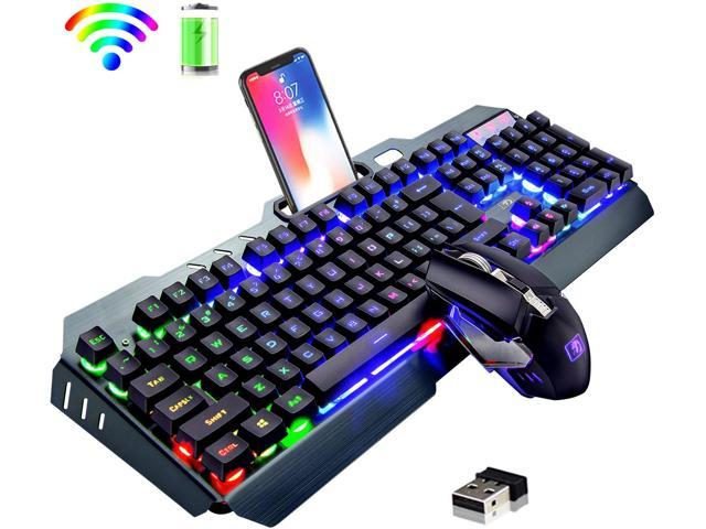 Wireless Keyboard and Mouse,Rainbow LED Backlit Rechargeable - Sale: $94.99 USD
